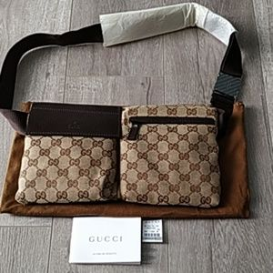 Gucci GG brown monogram canvas waist belt bag